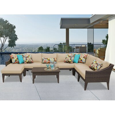 Manhattan 9 Piece Sectional Seating Group with Cushion Fabric: Wheat