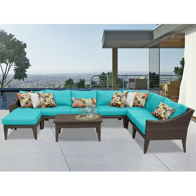 Manhattan 9 Piece Sectional Seating Group with Cushion Fabric: Aruba