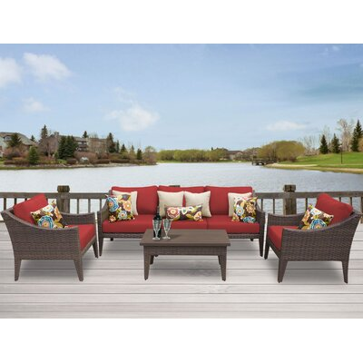 Manhattan 6 Piece Deep Seating Group with Cushion Fabric: Terracotta