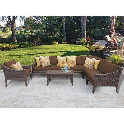 Manhattan 8 Piece Deep Seating Group with Cushion Fabric: Cocoa