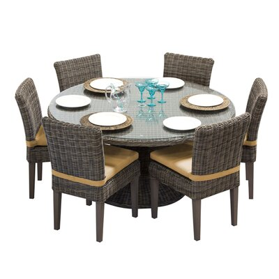 Cape Cod 7 Piece Dining Set with Cushions Cushion Color: Sesame