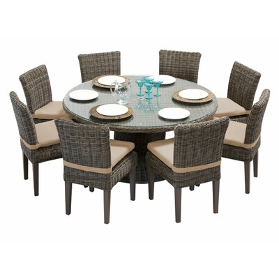 Cape Cod 9 Piece Dining Set with Cushions Cushion Color: Wheat