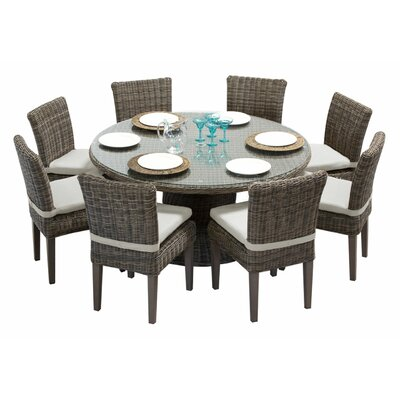 Cape Cod 9 Piece Dining Set with Cushions Cushion Color: Beige