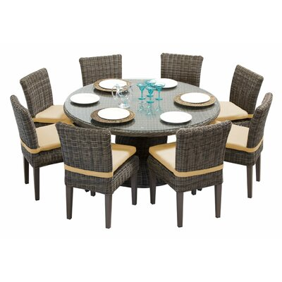 Cape Cod 9 Piece Dining Set with Cushions Cushion Color: Sesame