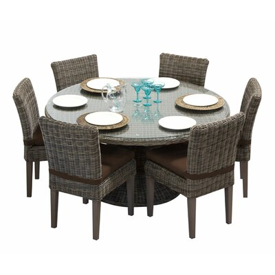 Cape Cod 7 Piece Dining Set with Cushions Cushion Color: Cocoa