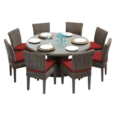 Cape Cod 9 Piece Dining Set with Cushions Cushion Color: Terracotta