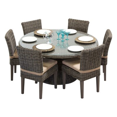 Cape Cod 7 Piece Dining Set with Cushions Cushion Color: Wheat