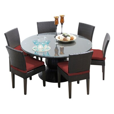 Napa 7 Piece Dining Set with Cushions Cushion Color: Terracotta