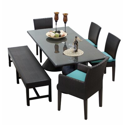 Napa 6 Piece Dining Set with Cushions Cushion Color: White