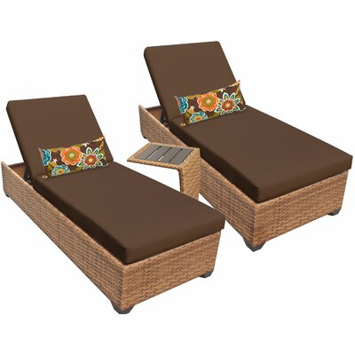 Laguna 3 Piece Chaise Lounge Set with Cushion Fabric: Cocoa