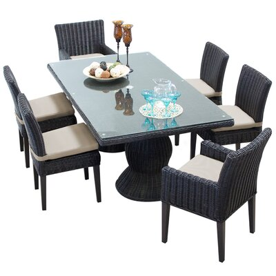Venice 7 Piece Dining Set with Cushions Cushion Color: Beige