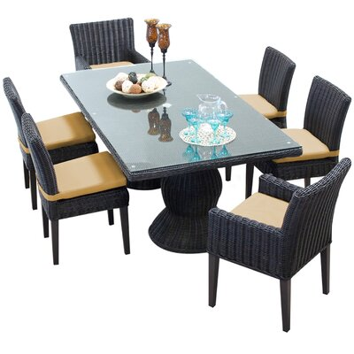 Venice 7 Piece Dining Set with Cushions Cushion Color: Sesame