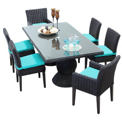 Venice 7 Piece Dining Set with Cushions Cushion Color: Navy