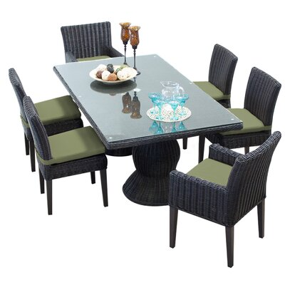 Venice 7 Piece Dining Set with Cushions Cushion Color: Cilantro