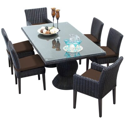 Venice 7 Piece Dining Set with Cushions Cushion Color: Cocoa