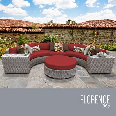 Florence Outdoor Wicker 6 Piece Sectional Seating Group with Cushion Fabric: Terracotta