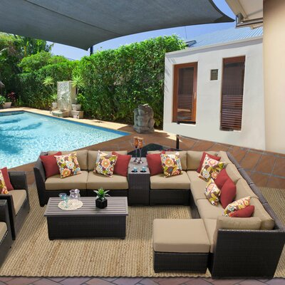 Barbados 12 Piece Sectional Seating Group with Cushion Fabric: Wheat