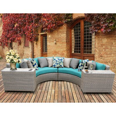 Florence Outdoor Wicker 4 Piece Sectional Seating Group with Cushion Fabric: Aruba
