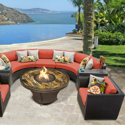 Barbados Outdoor Wicker 8 Piece Fire Pit Seating Group with Cushion Fabric: Tangerine