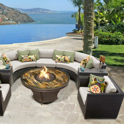 Barbados Outdoor Wicker 8 Piece Fire Pit Seating Group with Cushion Fabric: Beige