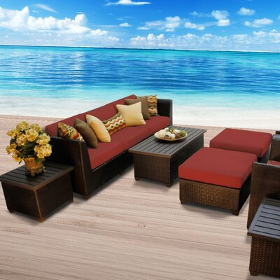 Barbados Outdoor Wicker 10 Piece Deep Seating Group with Cushion Fabric: Terracotta