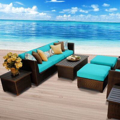 Barbados Outdoor Wicker 10 Piece Deep Seating Group with Cushion Fabric: Aruba