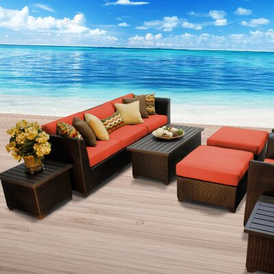Barbados Outdoor Wicker 10 Piece Deep Seating Group with Cushion Fabric: Tangerine