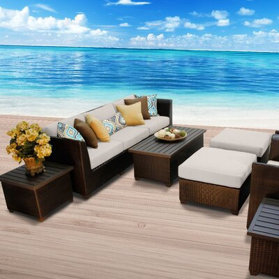 Barbados Outdoor Wicker 10 Piece Deep Seating Group with Cushion Fabric: Beige