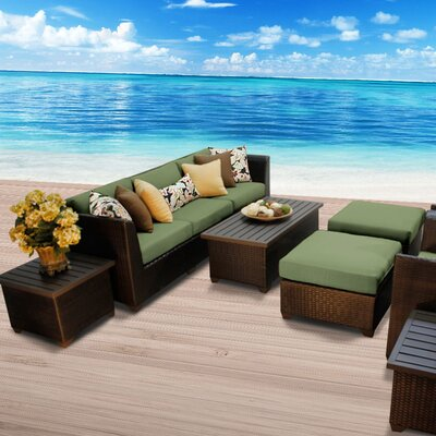 Barbados Outdoor Wicker 10 Piece Deep Seating Group with Cushion Fabric: Cilantro