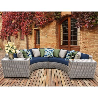 Florence Outdoor Wicker 4 Piece Sectional Seating Group with Cushion Fabric: Navy