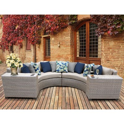Florence Outdoor Wicker 4 Piece Sectional Seating Group with Cushion Fabric: Beige