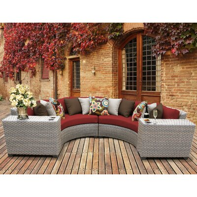 Florence Outdoor Wicker 4 Piece Sectional Seating Group with Cushion Fabric: Terracotta