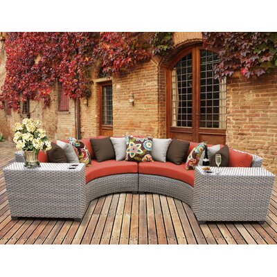 Florence Outdoor Wicker 4 Piece Sectional Seating Group with Cushion Fabric: Tangerine