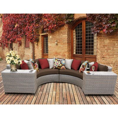 Florence Outdoor Wicker 4 Piece Sectional Seating Group with Cushion Fabric: Cocoa