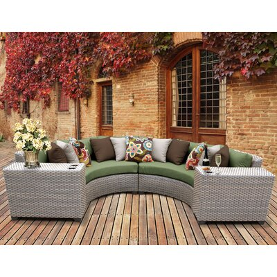 Florence Outdoor Wicker 4 Piece Sectional Seating Group with Cushion Fabric: Cilantro