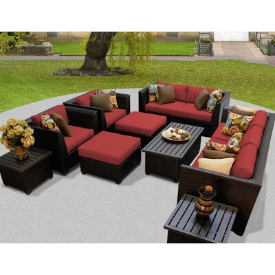 Barbados 12 Piece Deep Seating Group with Cushion Fabric: Terracotta