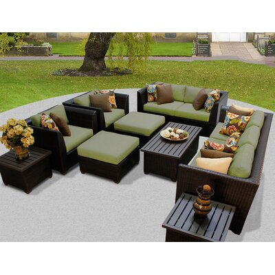 Barbados 12 Piece Deep Seating Group with Cushion Fabric: Cilantro