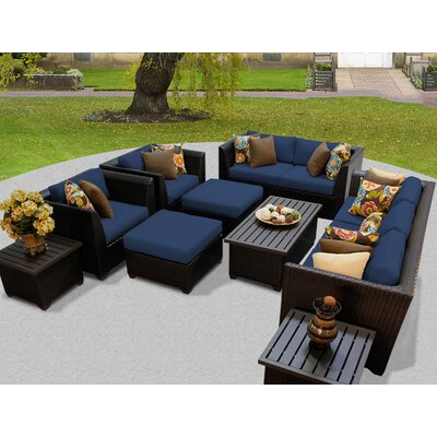 Barbados 12 Piece Deep Seating Group with Cushion Fabric: Navy
