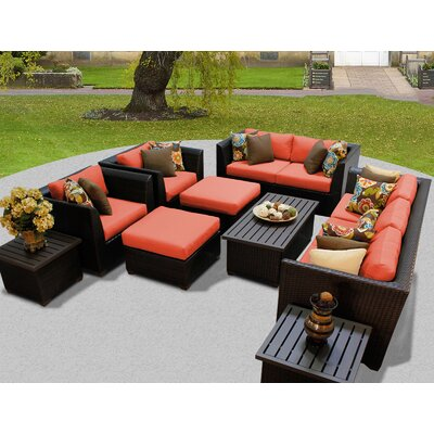 Barbados 12 Piece Deep Seating Group with Cushion Fabric: Tangerine