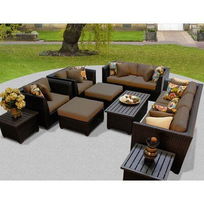 Barbados 12 Piece Deep Seating Group with Cushion Fabric: Cocoa