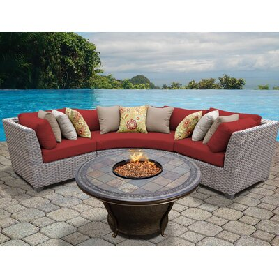 Florence Outdoor Wicker 4 Piece Fire Pit Seating Group with Cushion Fabric: Terracotta