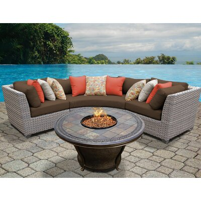Florence Outdoor Wicker 4 Piece Fire Pit Seating Group with Cushion Fabric: Cocoa