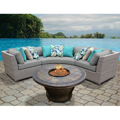 Florence Outdoor Wicker 4 Piece Fire Pit Seating Group with Cushion Fabric: Gray