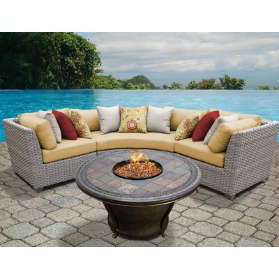 Florence Outdoor Wicker 4 Piece Fire Pit Seating Group with Cushion Fabric: Sesame