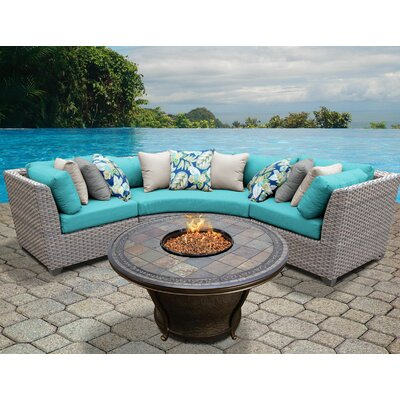 Florence Outdoor Wicker 4 Piece Fire Pit Seating Group with Cushion Fabric: Aruba
