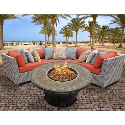 Florence Outdoor Wicker 4 Piece Fire Pit Seating Group with Cushion Fabric: Tangerine