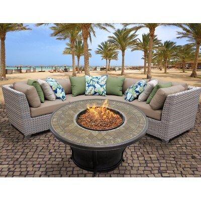 Florence Outdoor Wicker 4 Piece Fire Pit Seating Group with Cushion Fabric: Wheat