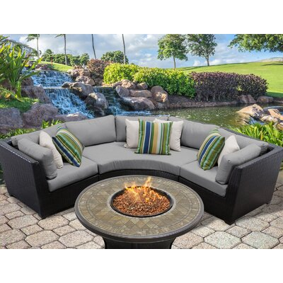Barbados Outdoor Wicker 4 Piece Fire Pit Seating Group with Cushion Fabric: Gray