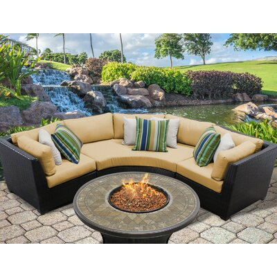Barbados Outdoor Wicker 4 Piece Fire Pit Seating Group with Cushion Fabric: Sesame