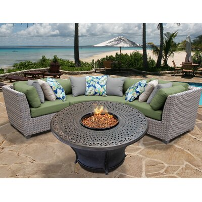 Florence Outdoor Wicker 4 Piece Fire Pit Seating Group with Cushion Fabric: Cilantro